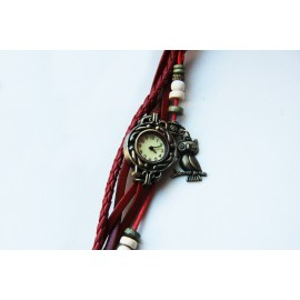 Laikrodis - moteriška apyrankė raudonos spalvos