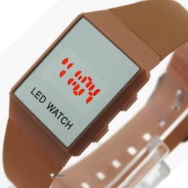 Minimalistinio dizaino led laikrodis [Rudas]