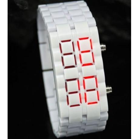 Led laikrodis balta apyrankė